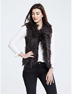 Feminino Casaco de Pêlo Casual Simples Inverno, Sólido Pêlo de Coelho Pêlo de GuaxinimSem Manga