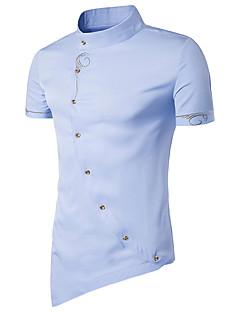 Kortærmet Stående krave Herrer Ensfarvet Sexet Vintage Simpel I-byen-tøj Afslappet/Hverdag Ferie Skjorte,Bomuld Polyester