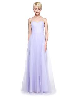 Lanting Bride® Longo Tule Vestido Convertível Vestido de Madrinha - Linha A Tamanhos Grandes / Mignon com Babados / Drapeado Lateral
