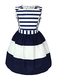 Girl's Casual/Daily Striped Solid Dress,Cotton Summer Sleeveless