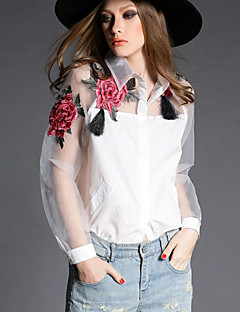 Feminino Camisa Casual Simples Primavera,Floral Branco / Preto Poliéster Colarinho de Camisa Manga Longa Transparente