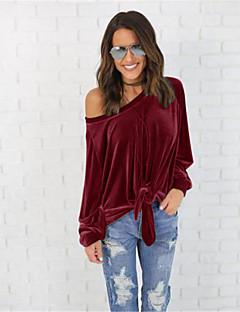 Uden ærmer Asymetrisk Medium Damer Ensfarvet Sexet Gade I-byen-tøj Afslappet/Hverdag T-shirt,Bomuld