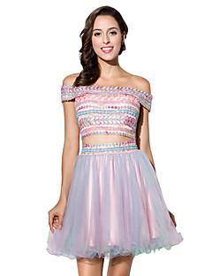 Коктейльное платье бальное платье bateau short / мини-тюль с вышивкой
