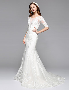 LAN TING BRIDE Trumpet / Mermaid Wedding Dress Open Back Two-in-One Floor-length Jewel Lace Tulle with Lace