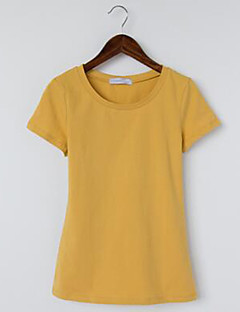 Women's Going out Cute T-shirt,Solid Round Neck Short Sleeve Cotton