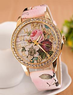 Mulheres Relógio Elegante Relógio de Moda Relógio de Pulso Simulado Diamante Relógio Quartzo imitação de diamante PU Banda Flor Rosa