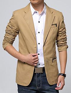 Herren Einfarbig Vintage Einfach Lässig/Alltäglich Arbeit Blazer,V-Ausschnitt Frühling Herbst Langarm Standard Baumwolle Acryl
