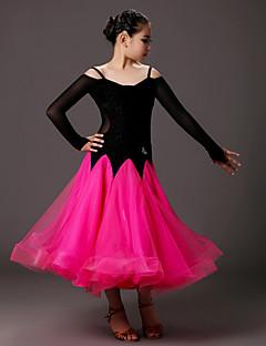 Ballroom-dans Kjoler Barn Yteevne Tyll Fløyel Drapert Tvinning 1 Deler Langt Erme Naturlig Kjoler 100,101,102,103,104