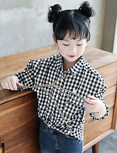 Girl's Han Edition Fashion Leisure Spring/Autumn Tide Cool Brief Paragraph Checked Shirt Cuhk Children's Shirt