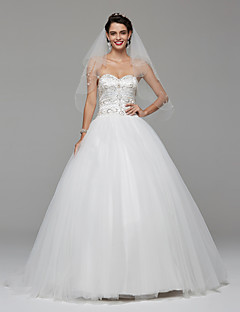 LAN TING BRIDE Ball Gown Wedding Dress Wedding Dress with Wrap Open Back Sweep / Brush Train Sweetheart Lace Tulle withBeading Draped