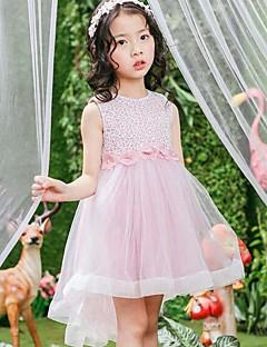 Girl's Solid Print Dress,Cotton Polyester Summer Sleeveless