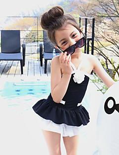 Girls' Ruffle Solid Patchwork Swimwear,Cotton