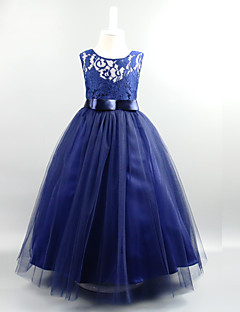 Ball Gown Ankle-length Flower Girl Dress - Lace Organza Satin Tulle Jewel with Draping Lace Sash / Ribbon