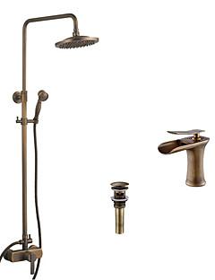アンティーク調 バスタブとシャワー 滝状吐水タイプ レインシャワー ハンドシャワーは含まれている with  セラミックバルブ シングルハンドル二つの穴 for  アンティーク真鍮 , シャワー水栓