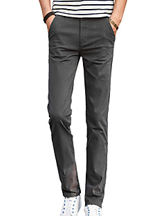 Bărbați Zvelt Simplu Talie Medie,Micro-elastic Pantaloni Chinos Pantaloni Solid