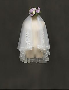 웨딩 면사포 두층 팔꿈치 베일 리본 가장자리 명주그물 레이스