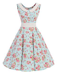Feminino balanço Vestido,Casual Vintage Floral Decote Redondo Altura dos Joelhos Sem Manga Algodão Todas as Estações Cintura MédiaSem