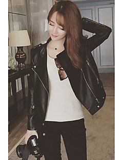 Damen Solide Sexy Lässig/Alltäglich Jeansjacke,V-Ausschnitt Frühling Herbst Langarm Standard Baumwolle