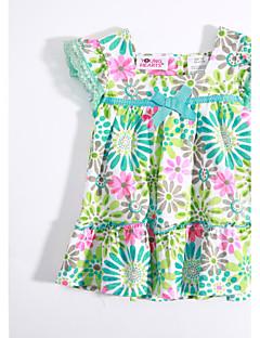 bebê Camiseta-Casual Floral-Algodão-Verão-