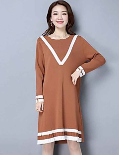 Women's Going out Casual/Daily Loose Dress,Solid Round Neck Midi Long Sleeve Rayon Polyester Spring Mid Rise Inelastic Medium