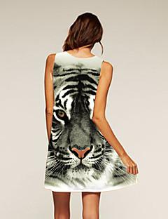Dámské Jdeme ven Běžné/Denní Swing Šaty Leopard,Bez rukávů Kulatý Asymetrické Polyester Léto Mid Rise Lehce elastické Střední