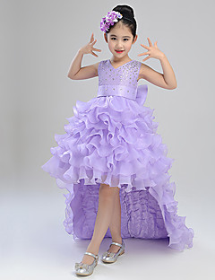 Ball Gown Asymmetrical Flower Girl Dress - Cotton Organza Satin Sleeveless V-neck with Ribbon
