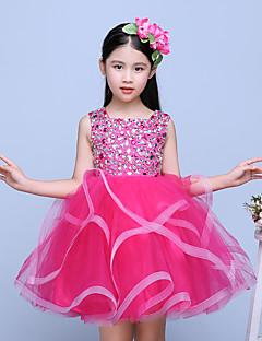 Krátký / Mini Tyl Šaty pro malou družičku Plesové šaty Klenot s Korálky