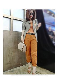 여성 체크무늬 V 넥 긴 소매 블레이져,빈티지 귀여운 캐쥬얼/데일리 작동 보통 폴리에스테르 봄 패치 워크
