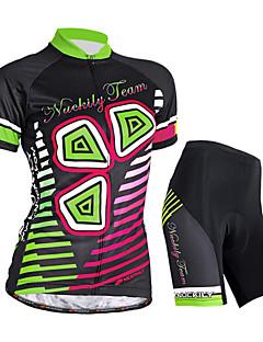 Nuckily חולצת ג'רסי ומכנס קצר לרכיבה לנשים שרוול קצר אופנייםעמיד למים נושם עמיד אולטרה סגול חדירות ללחות רוכסן עמיד למים רוכסן קדמי תיק