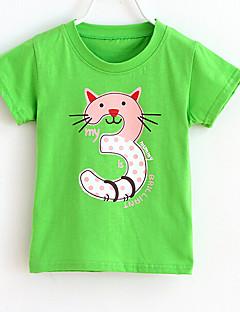 T-shirt Afslappet/Hverdag Trykt mønster,Bomuld Sommer Kortærmet Normal