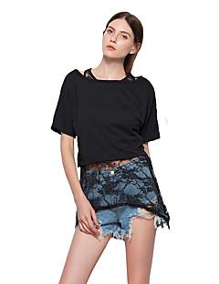 Kortærmet Rund hals Blank Tynd Damer Ensfarvet Forår Sommer Simpel Gade I-byen-tøj Strand Ferie T-shirt,Bomuld