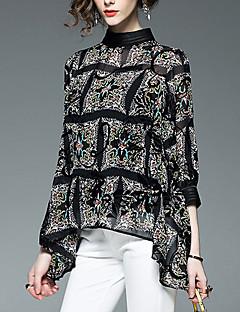 여성 프린트 스탠드 ¾ 소매 블라우스,심플 캐쥬얼/데일리 레이온 폴리에스테르 사계절 얇음