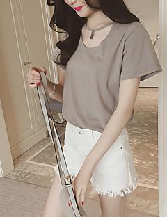 Women's Going out Cute Summer T-shirt,Solid U Neck Short Sleeve Cotton Medium