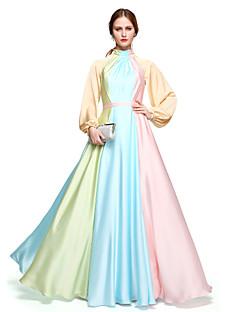 TS Couture Formele avonden Jurk - Elegant Kleurenblok Kleurgradatie Celebrity-Stijl A-lijn Hoge nek Tot de grond Chiffon metSjerp / Lint