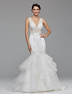 LAN TING BRIDE Fit & Flare Wedding Dress Open Back Sweep / Brush Train V-neck Lace Tulle with Lace Side-Draped
