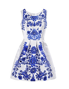 Women's Going out Casual/Daily Holiday Vintage Chinoiserie A Line Dress,Floral Round Neck Knee-length Sleeveless Cotton Polyester Summer