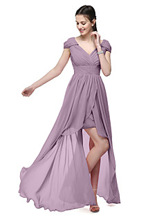 LAN TING BRIDE Asymmetrical V-neck Bridesmaid Dress - Elegant Short Sleeve Chiffon