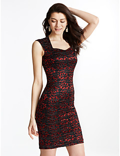 6366b56acb1 Γυναικείο Εξόδου Μεγάλα Μεγέθη Βίντατζ Εφαρμοστό Φόρεμα,Μονόχρωμο Αμάνικο  Τετράγωνη Λαιμόκοψη Πάνω από το Γόνατο