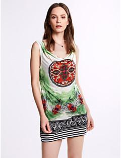 Dámské Midi Polyester Šaty Spadlý nabíraný výstřih Bez rukávů