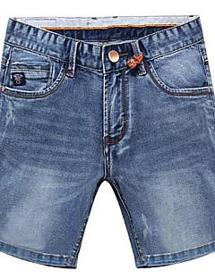 Herre Enkel Stretch Shorts Bukser,Løstsittende Mellomhøyt liv Ensfarget