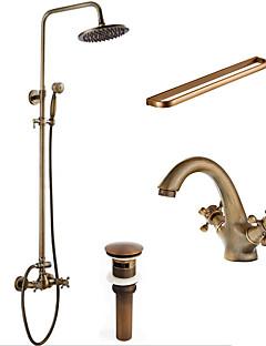 アンティーク調 伝統風 アールデコ調/レトロ風 シャワーシステム レインシャワー ハンドシャワーは含まれている with  セラミックバルブ 3つのハンドル二つの穴 for  アンティーク銅 , シャワー水栓
