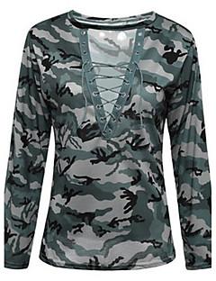Langærmet Dyb V Tynd Damer camouflage Alle årstider Sexet Simpel Afslappet/Hverdag T-shirt,Bomuld