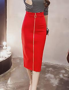 Damen Röcke,Stifte einfarbigAusgehen Lässig/Alltäglich Klub Sexy Einfach Mittlere Hüfthöhe Knielänge Reisverschluss Polyester