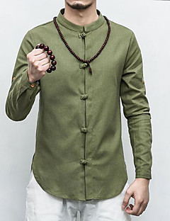 Men's Casual/Daily Simple Chinoiserie Spring Fall Shirt,Solid Standing Collar Long Sleeves Linen Thin