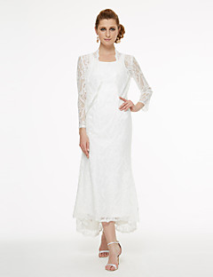 A-Line Scoop Neck Asymmetrical Lace Mother of the Bride Dress with Lace Pleats by LAN TING BRIDE®