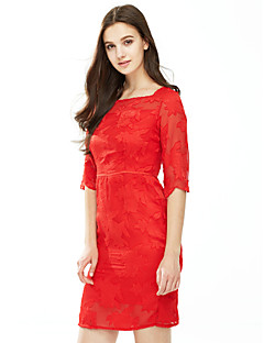 Feminino Tubinho Vestido, Para Noite Tamanhos Grandes Sensual Sólido Decote Quadrado Altura dos Joelhos Manga ¾ Azul Vermelho Poliéster