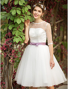 A-line Wedding Dress See-Through Tea-length Bateau Tulle with Appliques Sash / Ribbon