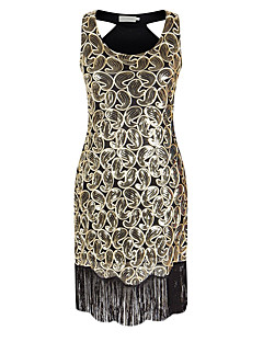 Cocktail Party Dress - Sexy Sparkle & Shine Sheath / Column V-neck Asymmetrical Polyester with Sequins