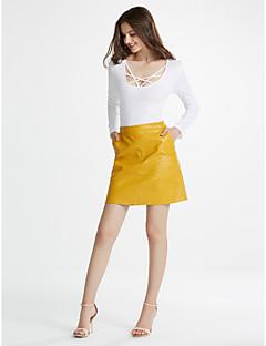 Mujer Sencillo Tiro Medio Sobre la Rodilla Faldas,Línea A Malla Un Color