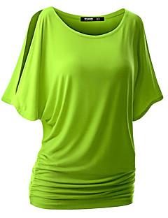 여성 솔리드 라운드 넥 짧은 소매 티셔츠,섹시 스트리트 쉬크 캐쥬얼/데일리 면 레이온 여름 얇음